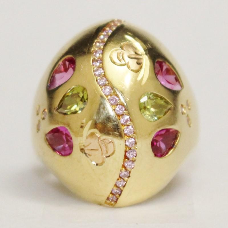PINK SAPPHIRE & PERIDOT 18K YELLOW GOLD DOME RING Size 8.5