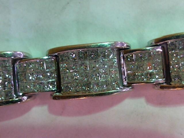 Gold-Diamond Bracelet 360 Diamonds 21.60 Carat T.W. 14K White Gold 61.7g