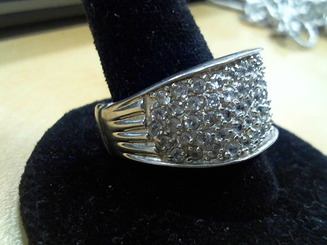 Synthetic Cubic Zirconia Lady's Silver & Stone Ring 925 Silver 7.8g Size:7.5