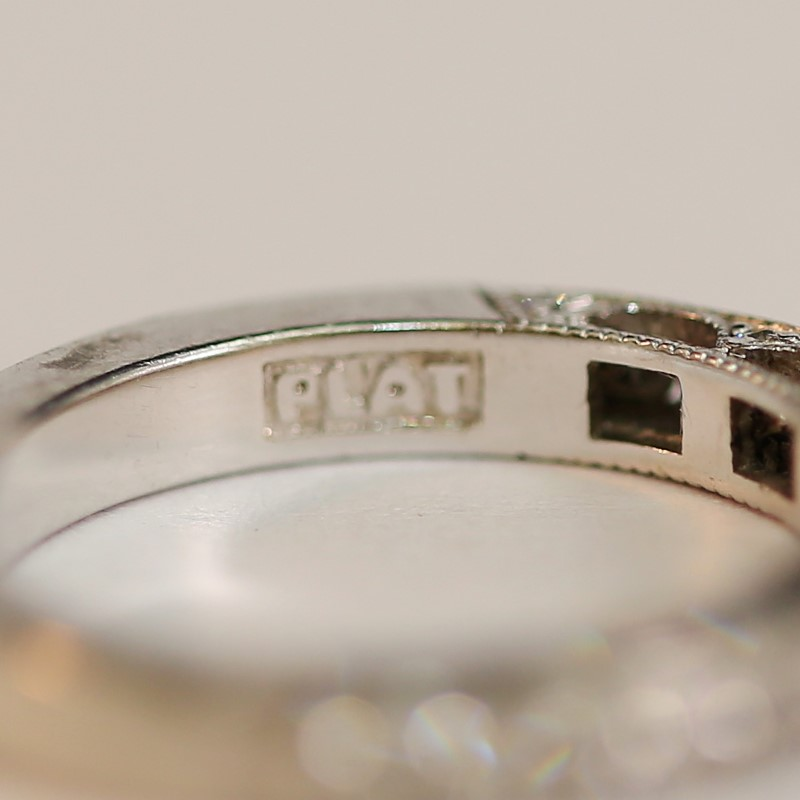 Vintage Inspired Detail Brilliant Diamond Wedding Band Size 4.75