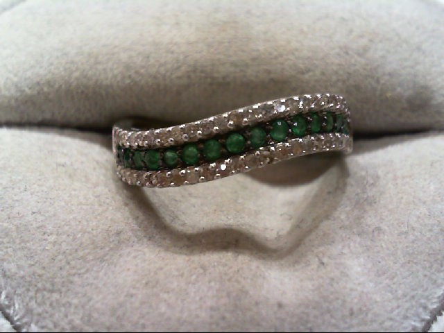 Emerald Lady's Stone & Diamond Ring 46 Diamonds .46 Carat T.W. 14K White Gold