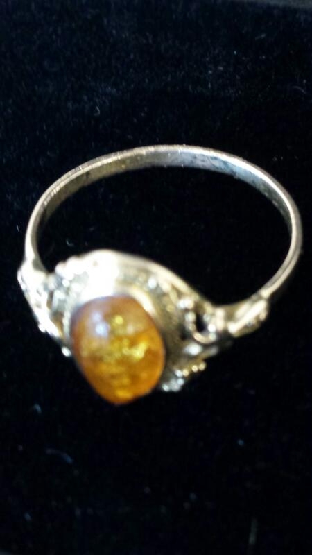 Amber Lady's Stone Ring 14K Yellow Gold 1.7dwt Size:9.3