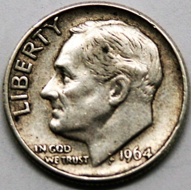 UNITED STATES SILVER COIN 1964 ROOSEVELT DIME