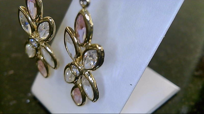 Lady's 14k yellow gold marquise crystal white and pink stone dangle earrings