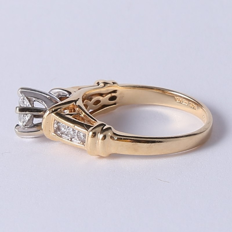 14K Yellow Gold Round & Marquise Diamond Engagement Ring Size 6.75