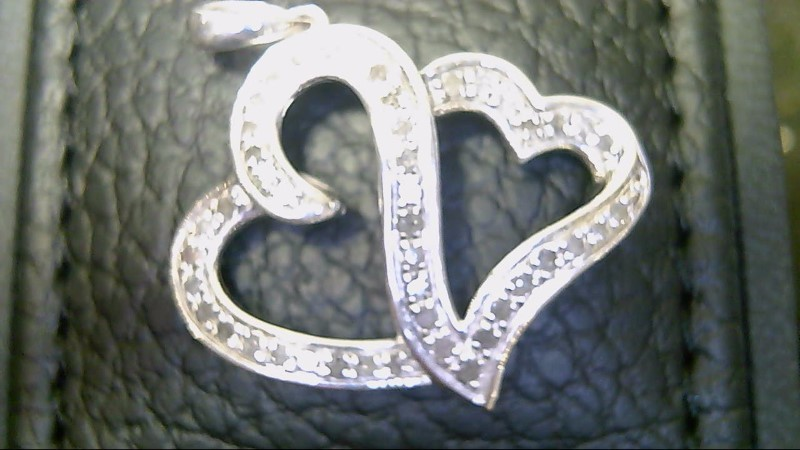LADY'S STERLING SILVER 925 DIAMOND DOUBLE HEART PENDANT