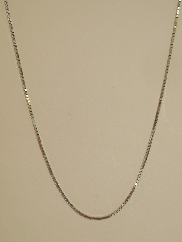 "22"" Gold Box Chain 14K White Gold 3.3g"