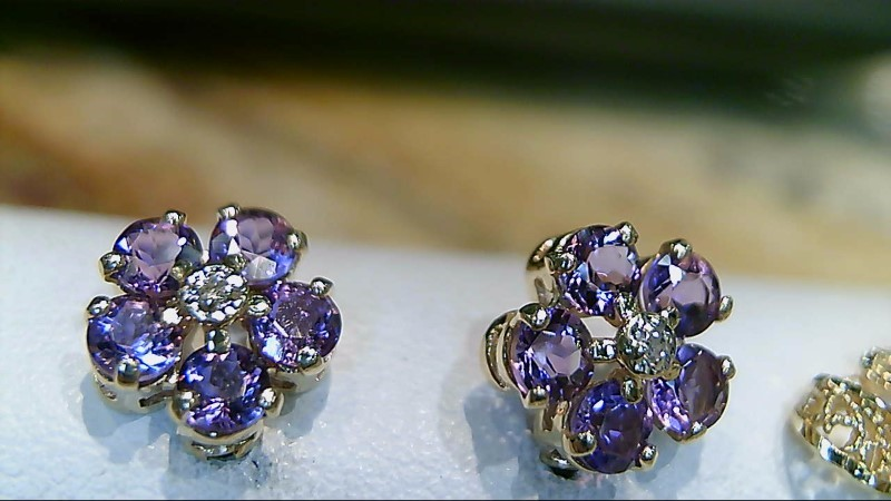 Amethyst Gold-Diamond & Stone Earrings 2 Diamonds .02 Carat T.W.