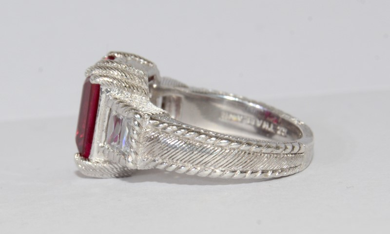 Judith Ripka Roped Detailed Red Stone Diamonique Sterling Silver Cocktail Ring 7
