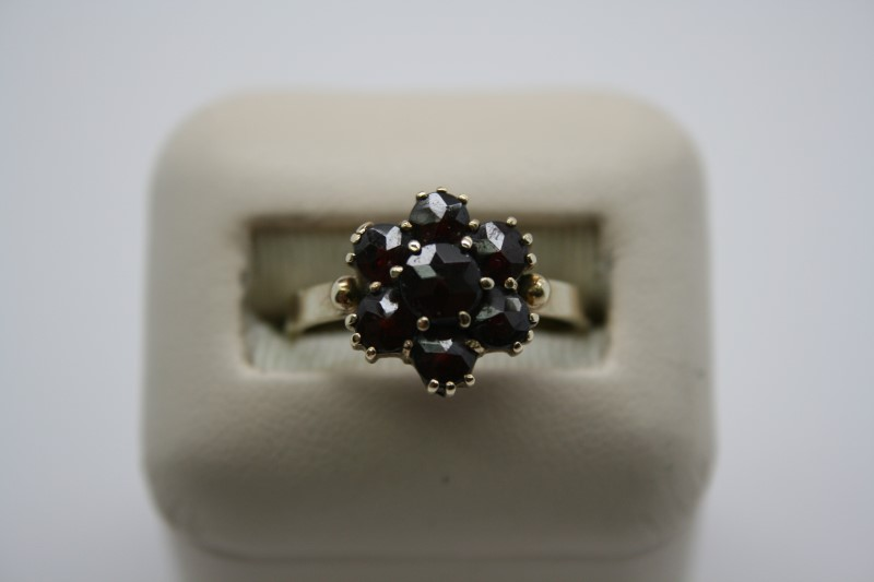 LADY'S FASHION GARNET RING 10K YELLOW GOLD