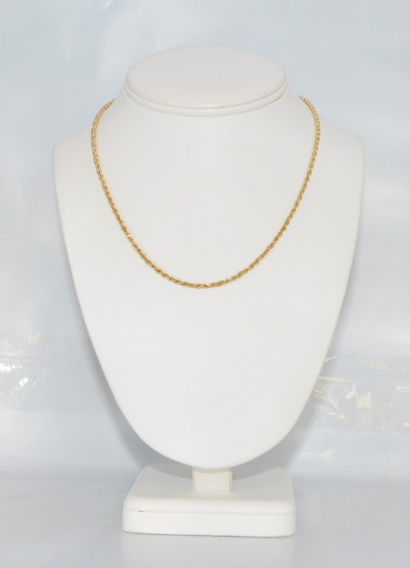 "16"" 14K Yellow Gold Rope Chain Necklace w/ Hook Clasp"