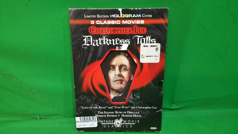 Christopher Lee - Darkness Tolls (DVD, 2005) RARE W/ SLIPCOVER HOLLOGRAM COVER