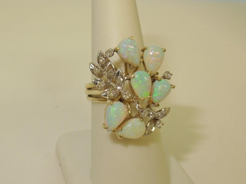 Synthetic Opal Lady's Stone & Diamond Ring 14 Diamonds .28 Carat T.W.