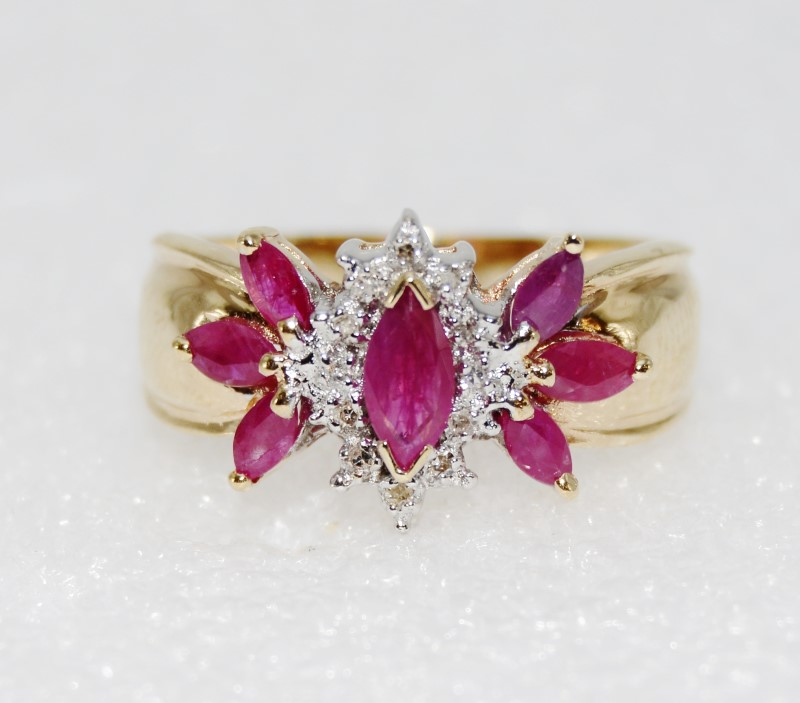 10K Yellow Gold Tapered Shank Floral Marquise Natural Ruby & Diamond Ring sz 9