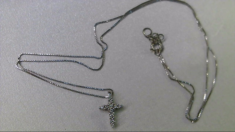 "19"" Diamond Necklace 11 Diamonds .11 Carat T.W. 10K White Gold 1.35g"