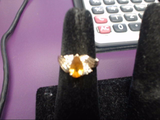 Citrine Lady's Stone & Diamond Ring 6 Diamonds .12 Carat T.W. 14K Yellow Gold