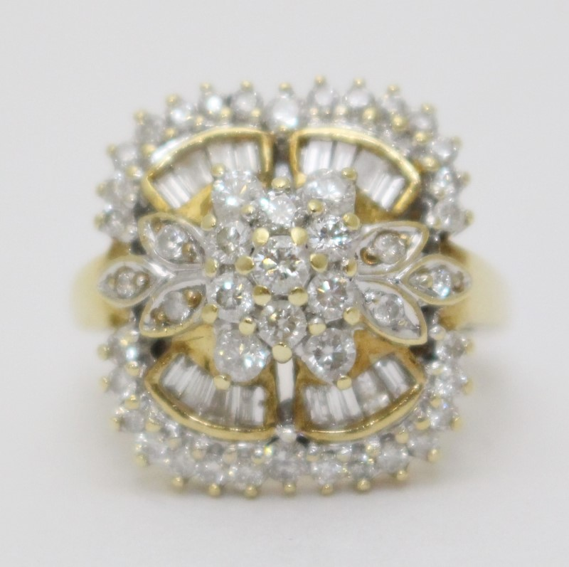 14K Yellow Gold Cathedral Set Floral Flower Diamond Cluster Ring Size 4.75
