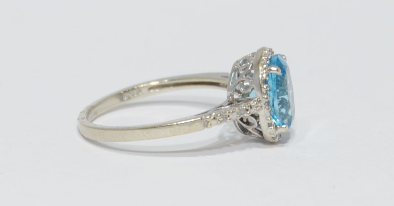 10K White Gold Oval Blue Topaz & Diamond Halo Ring w/ Filigree Detail Size 7