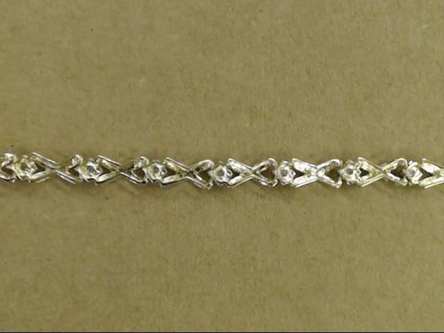 "VINTAGE DIAMOND XO HUG KISS TENNIS BRACELET SOLID REAL 10K GOLD 7"""