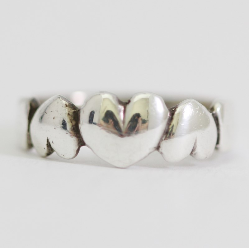Sterling Silver Alternating Triple Heart Ring Size 5