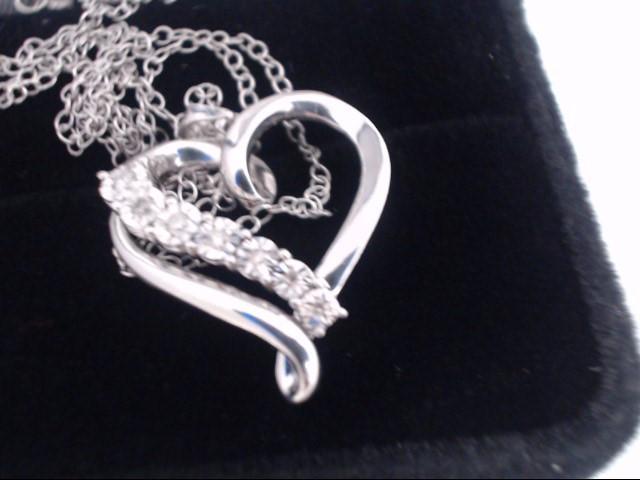 Diamond Necklace 7 Diamonds .07 Carat T.W. 925 Silver 3.3g