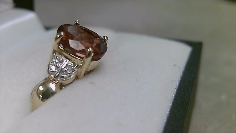 Citrine Lady's Stone & Diamond Ring 8 Diamonds .08 Carat T.W. 14K Yellow Gold