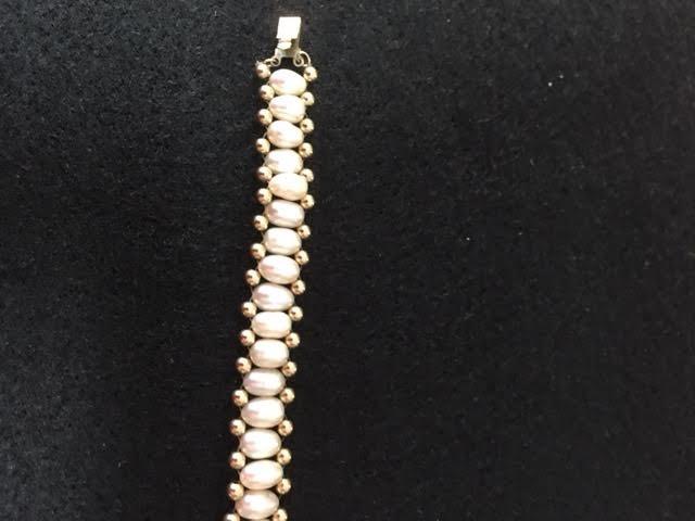 "Pearl Gold-Stone Bracelet 14K Yellow Gold 11.4gr tw. sz7"""