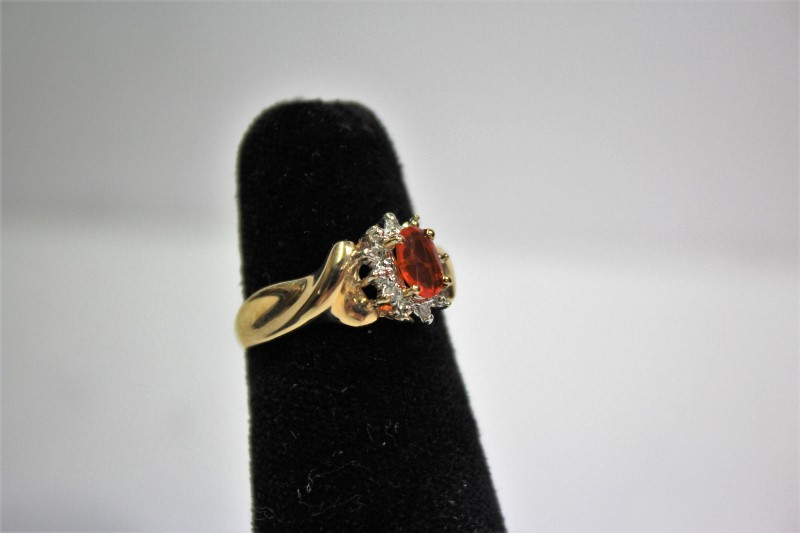 Orange Stone Lady's Stone & Diamond Ring 6 Diamonds .18 Carat T.W.