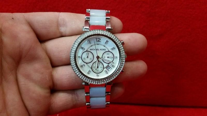 Michael Kors MK6138 Women's Parker Blue Chambray Acetate Bracelet Watch