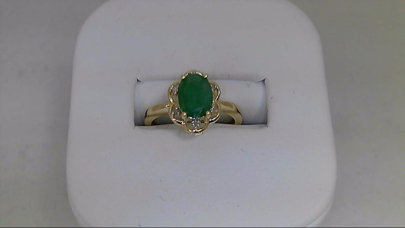 Mother's Day Oval Cut Genuine Emerald 6 Round Diamond 10K Yellow Gold Mom