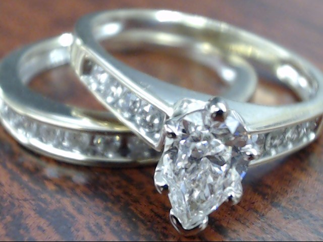 ESTATE PEAR CUT DIAMOND WEDDING SET RING BAND 14K WHITE GOLD SZ 6.25