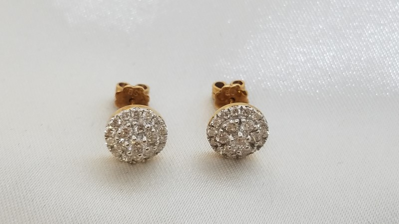 Diamond Cluster Stud Earrings 42 Diamonds 1.26 TCW 18K White Gold 2.7g