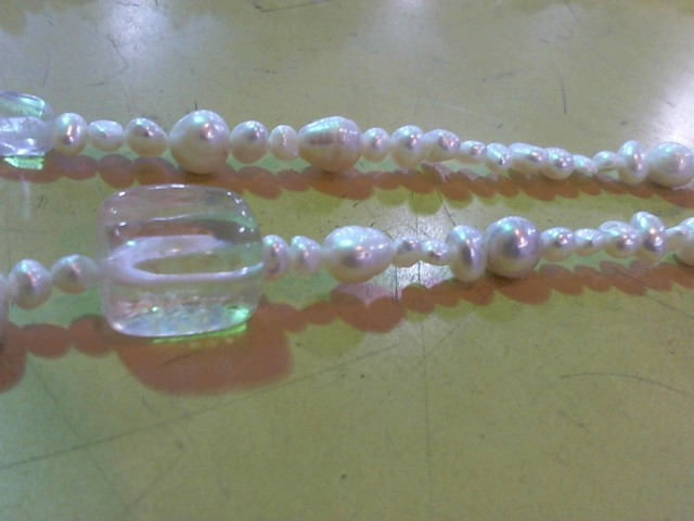 """96"""" Synthetic Pearl Strand Stone Necklace Yellow Gold Filled 0.05g"""