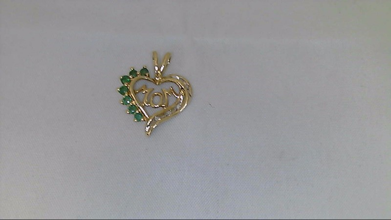Mother's Day Yellow Gold Genuine Emerald and Diamond Mom Heart Pendant 10K YG
