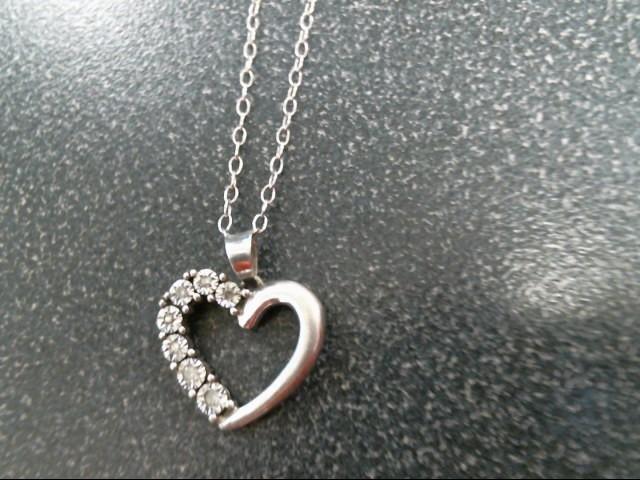 Diamond Necklace 7 Diamonds .07 Carat T.W. 925 Silver 1.9g