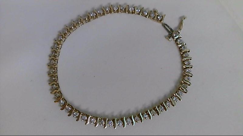 Gold-Diamond Bracelet 46 Diamonds 1.84 Carat T.W. 10K Yellow Gold 7g