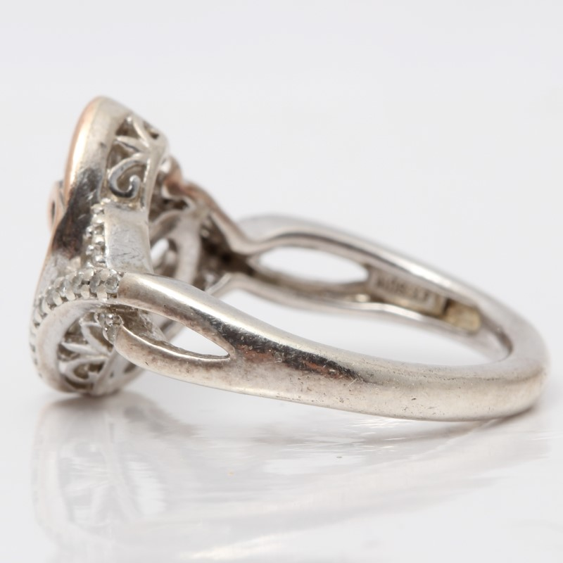 Silver Heart Mother and Child  Ring w/ Gold & Diamond Ring Size 6.5
