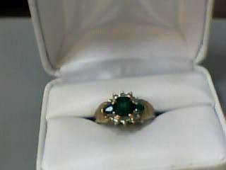 Emerald Lady's Stone & Diamond Ring 10 Diamonds .050 Carat T.W. 14K Yellow Gold