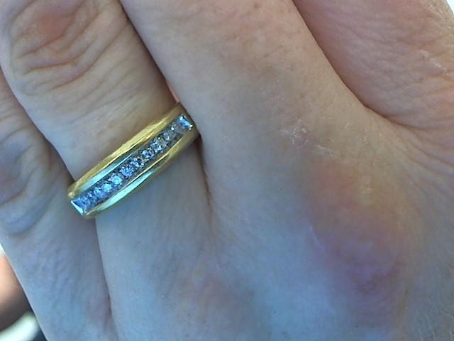 Gent's Diamond Fashion Ring 11 Diamonds .22 Carat T.W. 14K Yellow Gold 4.8g