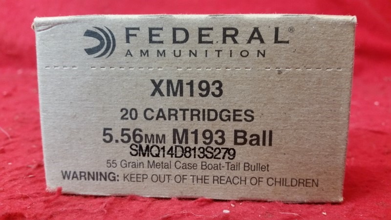 Federal XM193 5.56mm 55gr FMJ Boat Tail