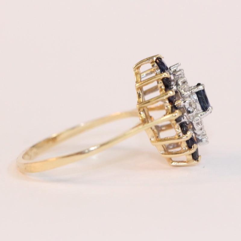 14K Yellow Gold Basket Set Sapphire & Diamond Cluster Statement Ring sz 6