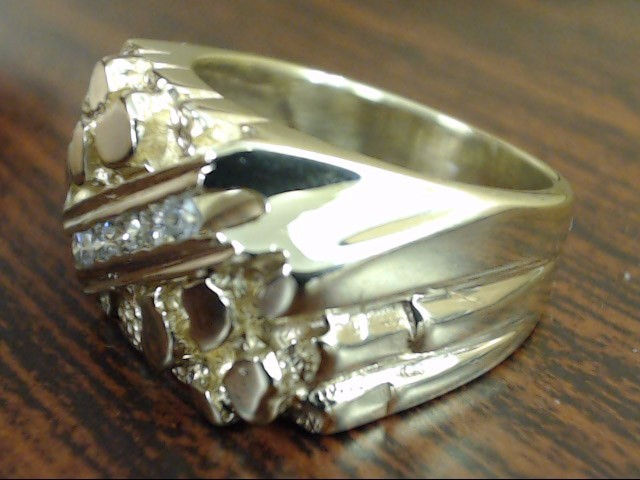 VINTAGE NUGGET DIAMOND RING BAND SOLID REAL 14K GOLD MENS SIZE 6.5