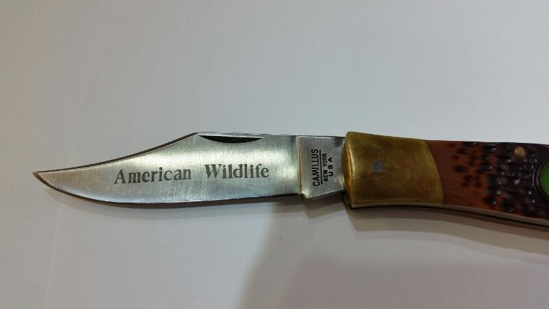 """Camillus #11 American Wildlife """"Lok-Back"""" Bone Handle Deer Pocket Knife"""