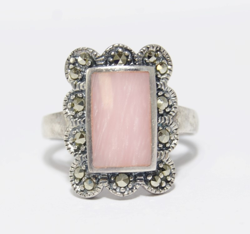 Sterling Silver Vintage Inspired Swirl Pink Enamel & Marcasite Statement Ring 9