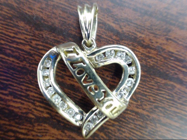 ESTATE DIAMOND CLUSTER I LOVE YOU HEART PENDANT CHARM SOLID 10K GOLD