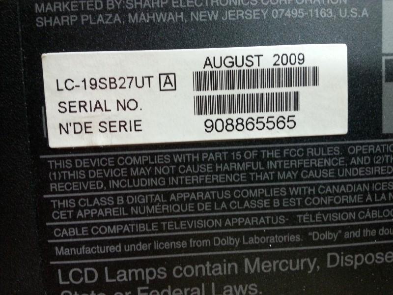 SHARP Flat Panel Television LC-19SB27UT