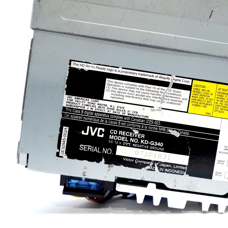 JVC KD-G340 In-Dash CD Player *AS IS - Faceplate Won't Stay On*