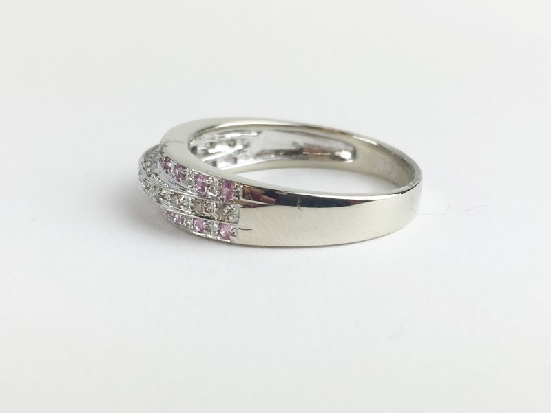 Pink Sapphire & Diamond Ring 13 Diamonds .13 Carat T.W.