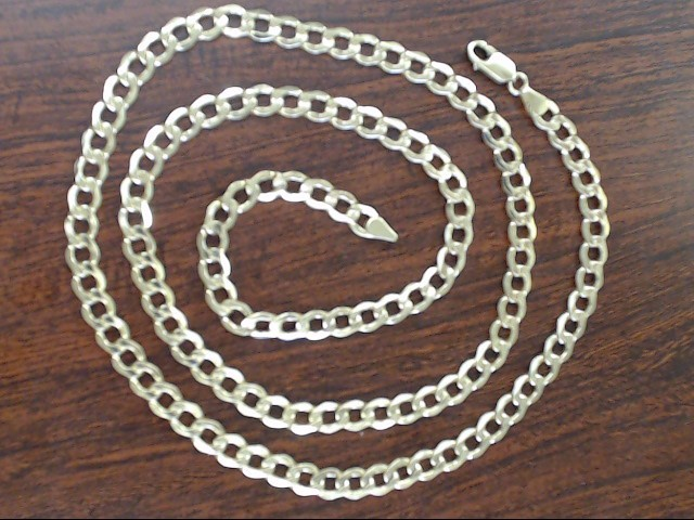 """VINTAGE 30"""" CURB CUBAN HOLLOW NECKLACE CHAIN  REAL 10K GOLD 6.75mm"""