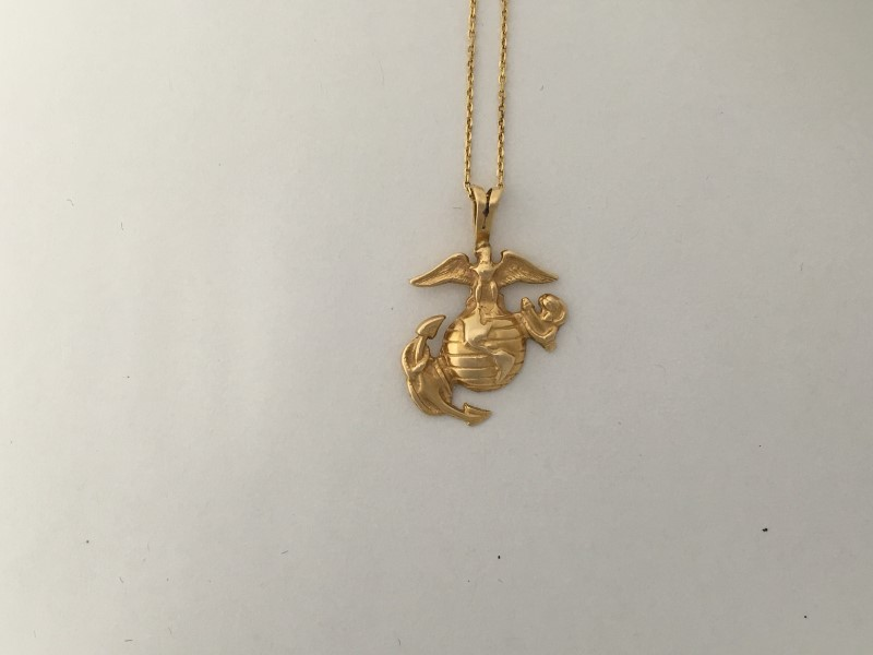 """MARINE CORPS 14K GOLD PENDANT, 4.6G, WITH 18"""" 14k CHAIN"""